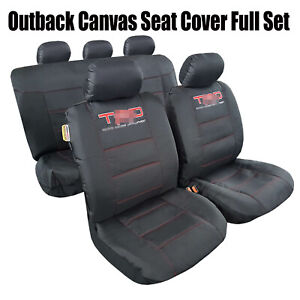 For Tacoma 1998 2021 Waterproof Durable Black Canvas Car Seat Covers Full Set