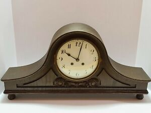 Antique Working 1890 Lenkirch Germany Victorian Large Footed Mantel Shelf Clock