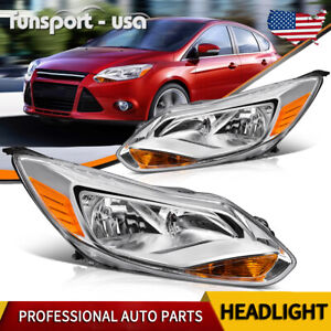 For 2012 2014 Ford Focus Chrome Clear Headlights Turn Signal Lights Lamps Pair