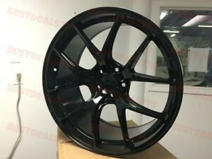 19x8 5 9 5 Staggered F Style Gloss Black Rims Wheels Fits G35 G37 350z 370z