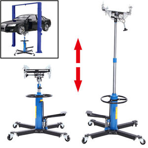 Adjustable Height Hydraulic Transmission Jack 2 Stage Auto Shop Car Lift 1100lbs