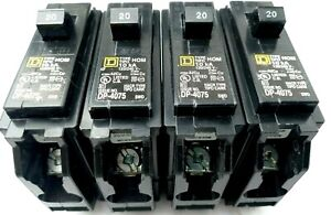 New Homeline Hom120cp Single 1 Pole 20 Amp Square D Circuit Breaker Lot Of 4
