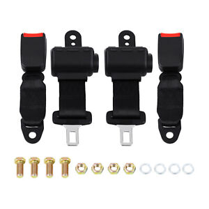 2x Golf Cart Seat Belts Retractable Universal Lap Strap For Ezgo Yamaha Club Car