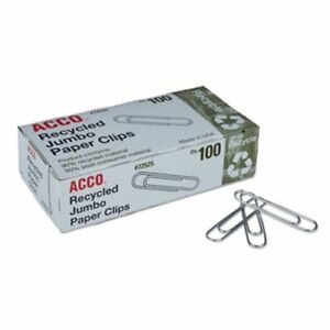 Acco Recycled Paper Clips Jumbo 100 box 10 Boxes pack acc72525