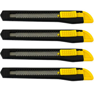 4 Small Safety Box Cutter Utility Knife Retractable Snap Off Blade Black