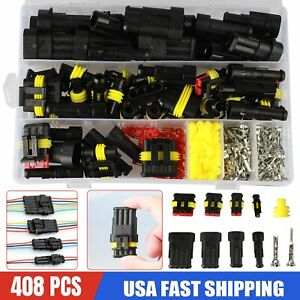 408pcs 1 2 3 4pin Way Waterproof Car Auto Electrical Wire Connector Plug Set Kit
