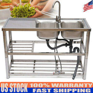 2 Compartment Stainless Steel Commercial Home Sink Bowl Kitchen Catering Sink