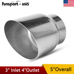 3 Inlet 4 Outlet 5inch Long Diesel Weld On Exhaust Tip Chrome Stainless Steel