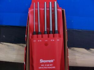 L s starrett Long Drive Pin Punch 5pc Set S248pc New In Package W pouch 51186