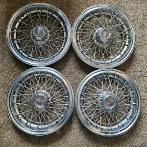 Set Of 4 Oem Vintage Pontiac Safari Caprice 15 Wire Spoke Hubcaps Wheel Covers