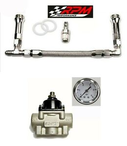 Holley Carb Carburetor Braided Fuel Line Dual Feed Regulator Gauge Kit 4150 6an