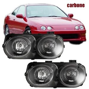 Headlights For 98 01 Acura Integra Jdm Halo Projector Front Lamp Black clear Len