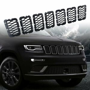 For Jeep Grand Cherokee 2017 2020 7pcs Black Front Mesh Honeycomb Grille Inserts