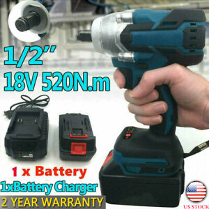 1 2 520nm 18v Torque Brushless Cordless Electric Impact Wrench Driver 1 Battery
