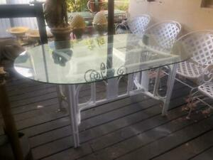 Vintage Rattan Dining Table Glass Top Hand Painted