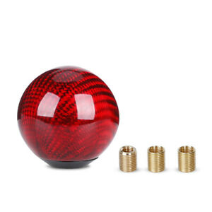 Universal Gear Shift Knob Round Ball Shape Car Red Carbon Fiber M8 M10 M12