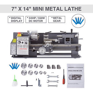 Metal Lathe 2250 Rpm 550w Digital Display Metal Gear W 5 Tools Mini 7 X 14