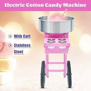Candy Floss Maker With Cart Pink Ss Commercial Electric Cotton Candy Machine