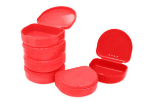 Red Retainer Storage Case box Made In The Usa mouthguards Dentures Bridge Etc