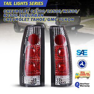 Tail Light For 88 98 Chevy Gmc C k 2500 3500 95 00 Tahoe Chrome Clear Lamp Pair