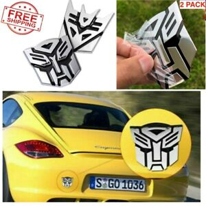 4 Matte Finish Aluminum Emblem Badge Decals Car 3d Transformers Decepticon Logo