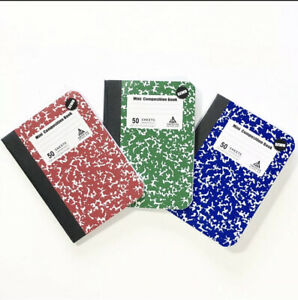Mini Composition Book Note Pad 3 Pack In 3 Different Color Red Green Blue