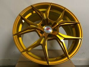 Set Of 19x8 5 19x9 5 Staggered Gold Xf5 Style Rims Wheels For 5x114 3