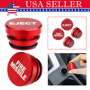 2x Universal Fire Missile Eject Button Car Cigarette Lighter Cover Accessories