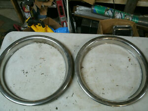 Trim Rings Wheel Hubcaps 15 1970 S 1980 S Pair Chevy Ford Dodge P