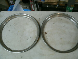 Trim Rings Wheel Hubcaps 15 1940 S Original Oem Thin Pair Ford Chevy Dodge