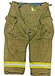42x30 Morning Pride Brown Firefighter Turnout Bunker Pants Yellow Reflect P1256