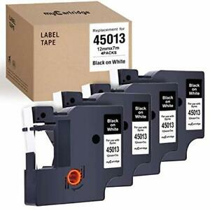 4 pack Compatible With Dymo D1 Label Tape 45013 s0720530 Black On White Repla