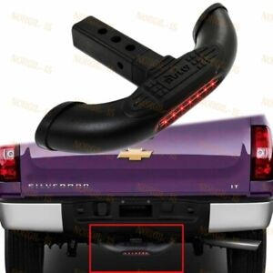 Bully 1 25 2 Black Tow Trailer Hitch Back Step Bar W Led Brake Tail Light