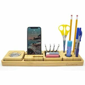 Luvberries Bamboo Desk Organizer With Tray For Home Work Office Storage