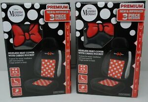 Pair Disney Minnie Mouse Sideless Seat Covers W Cargo Pocket For Car Truck Suv