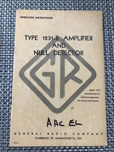 Original General Radio 1231 b Amplifier Null Detector Operating Manual