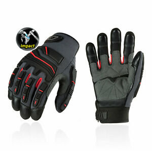 Vgo 1 3 Pairs Grain Cowhide Leather Heavy Duty Work Gloves touchscreen ca9730hl