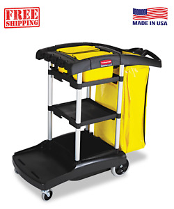 Rubbermaid Commercial High Capacity Janitor Cart 5 Cubic Feet Of Storage Space