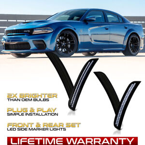 white Led Strip Front rear Smoked Side Marker Lights For 15 21 Dodge Charger