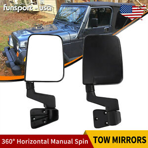 Towing Mirrors Pair Set For 1987 2002 Jeep Wrangler Manual Passenger Driver Side