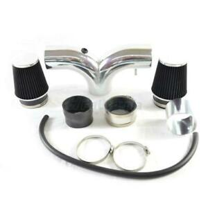 Dual Twin Air Induction Intake Kit Dry Filter For 03 08 Ram 1500 5 7 Hemi V8 Blk
