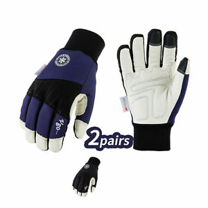 Vgo 2pairs 3m Thinsulate Winter Pigskin Leather Waterproof Work Gloves pa1015fw