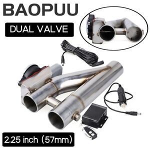 2 25inch Electric Exhaust Downpipe Cutout E cut Out Dual Valve W Remote Control