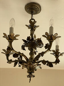 Antique French Bronze Brass Chandelier Cherubs 2 Available