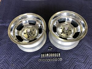 2 Polished Chevy 15x8 1 2 Nos Vintage American Racing Slot Mag Chevy 4 3 4