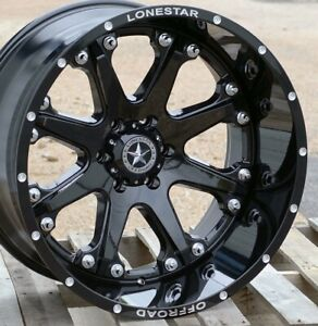 22 Gloss Black Lonestar Bandit Wheels 22x12 6x135 44mm Ford F150 Expedition