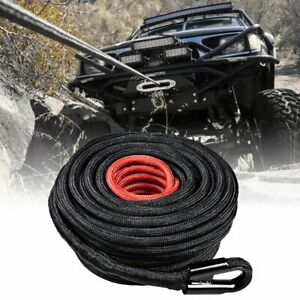 85ft 3 8 Inch Synthetic Winch Rope Recovery 20 500lbs Strap W Heat Rock Guard