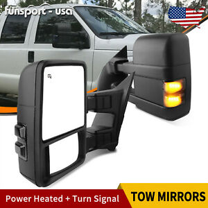 Pair Of Tow Mirrors For 08 16 Ford F250 F350 Superduty Power Heated Flat Convex