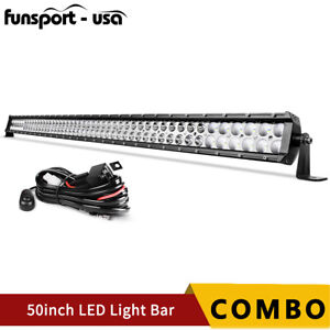 50inch 288w Led Light Bar Offroad Spot Flood Combo Truck Driving Suv 4wd 52inch