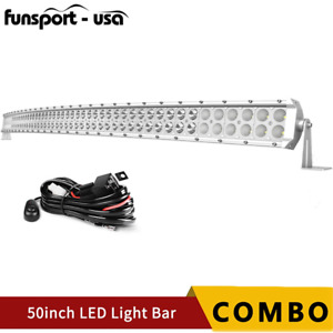 50inch Curved Led Light Bar Spot Flood Combo Wiring Offroad Truck Atv 4wd 52